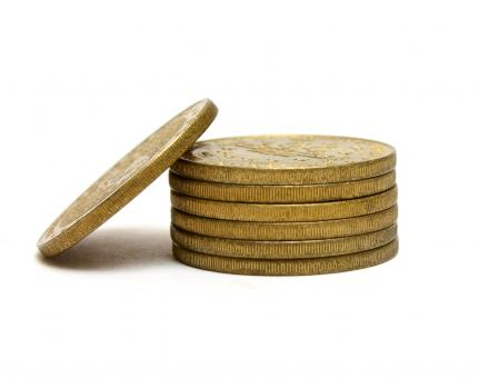 Free Stock Photo of A stack of gold coins