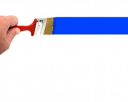 Free Stock Photo of A hand painting a blue line with a paint