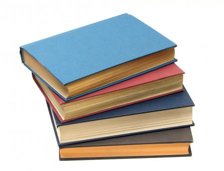 Free Stock Photo of A stack of books isolated on a white