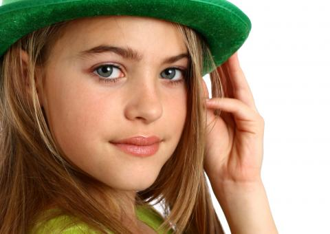 Free Stock Photo of Girl dressed for Saint Patrick's Day