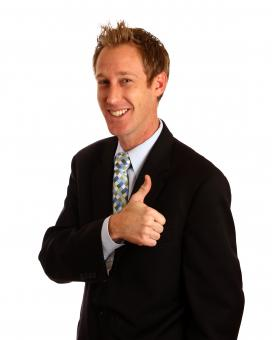 Free Stock Photo of A young businessman giving a thumbs up