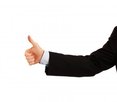 Free Stock Photo of A young businessman making a thumbs up