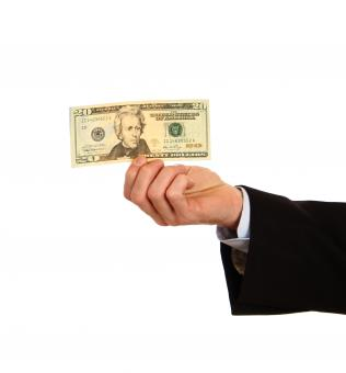 Free Stock Photo of A hand holding a twenty dollar bill