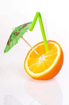 Free Stock Photo of Orange with drinking straw
