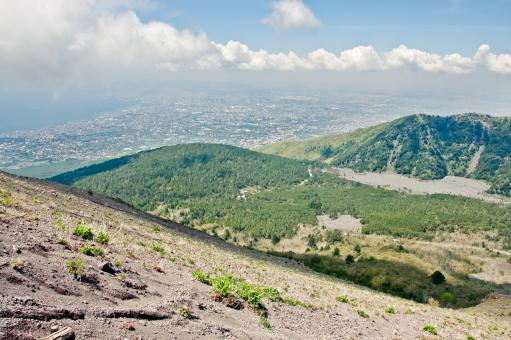 Free Stock Photo of Naples View from Vesuvius volcano