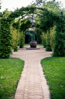 Free Stock Photo of Beautiful garden arches and path