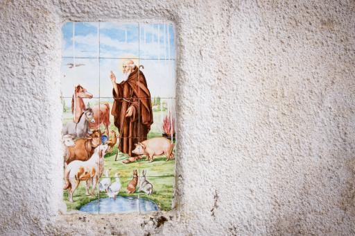 Free Stock Photo of Religious tiles in street of italy