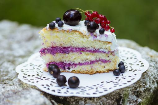 Free Stock Photo of Slice of fresh berry cake