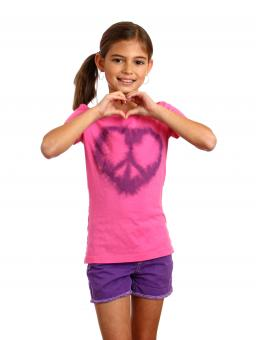 Free Stock Photo of A cute young girl making a heart symbol