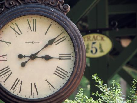 Free Stock Photo of Closeup of a clock at a railroad station