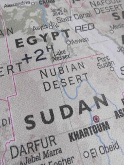Free Stock Photo of Egypt and Sudan Map