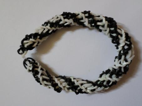 Free Stock Photo of Black and white spiral loom bracelet