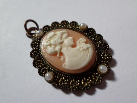 Free Stock Photo of Vintage style cameo pendant