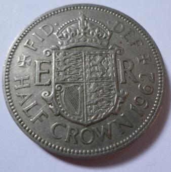 Free Stock Photo of 1962 Half crown coin