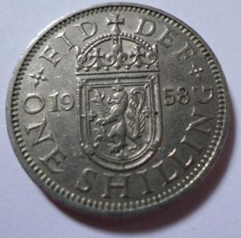 Free Stock Photo of 1958 one shilling coin