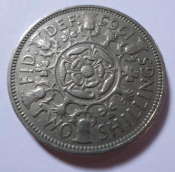 Free Stock Photo of 1965 Two shillings coin