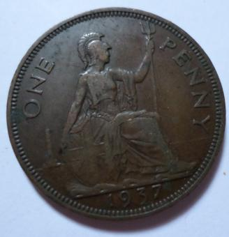 Free Stock Photo of 1937 One penny coin