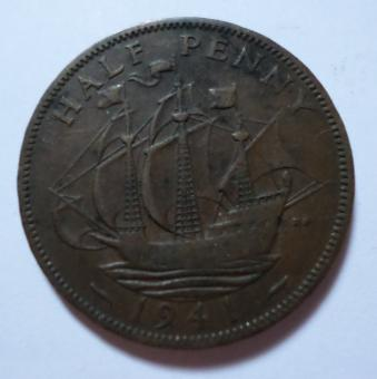 Free Stock Photo of 1941 Halfpenny coin