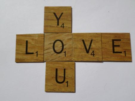 Free Stock Photo of Love you scrabble style tiles