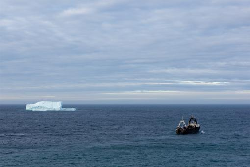 Free Stock Photo of Trawler and iceberg