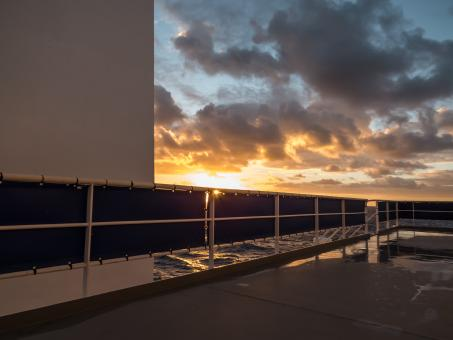 Free Stock Photo of A view to the sunset from ship's deck