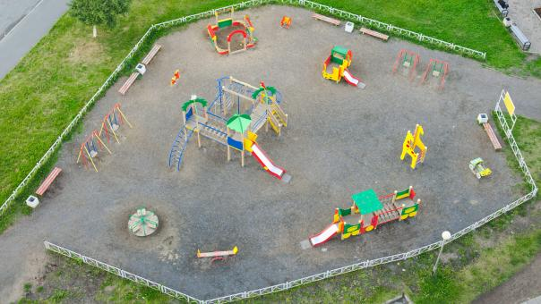 Free Stock Photo of Empty playground from above
