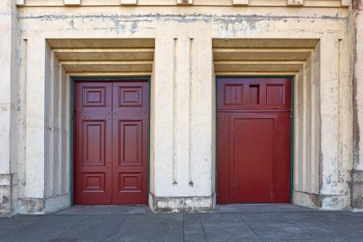 Free Stock Photo of Twin Red Doors - HDR