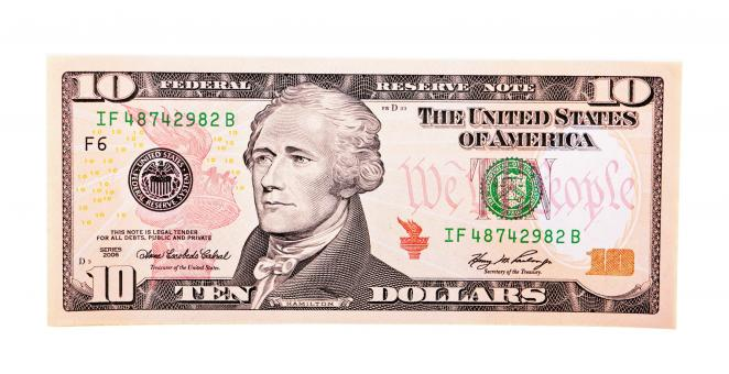 Free Stock Photo of Ten dollar bill