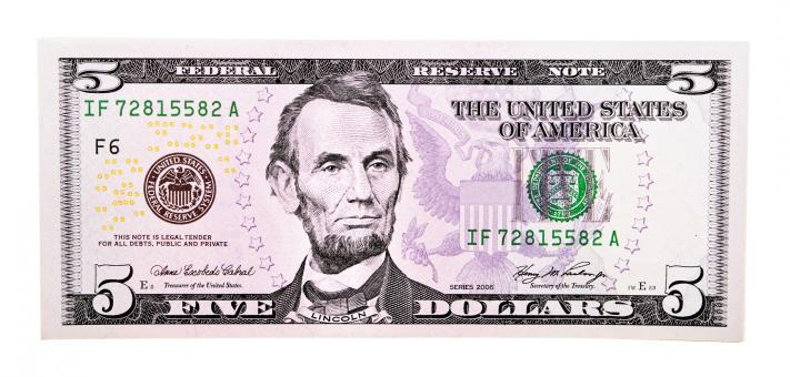 Free Stock Photo of Five dollar bill