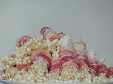 Free Stock Photo of Enokitake Mushrooms Wrapped in Bacon