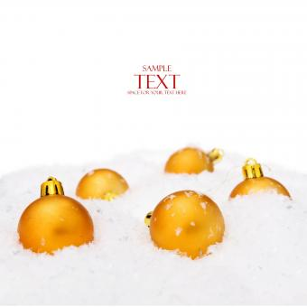 Free Stock Photo of Golden Christmas Balls with Text