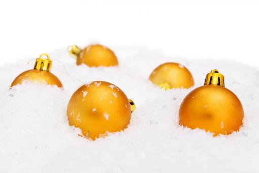Free Stock Photo of Golden Christmas Balls