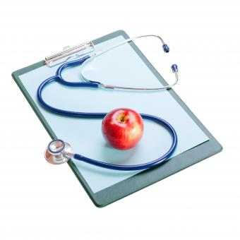 Free Stock Photo of Stethoscope and apple