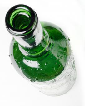 Free Stock Photo of Dew on Green Glass Bottle