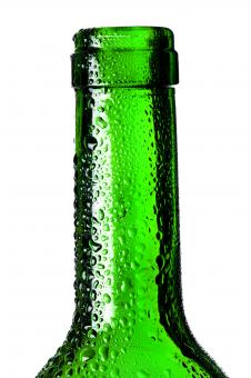 Free Stock Photo of Wet Green Glass Bottle