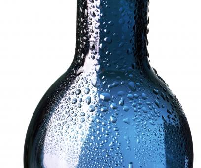 Free Stock Photo of Blue Wet Glass Bottle