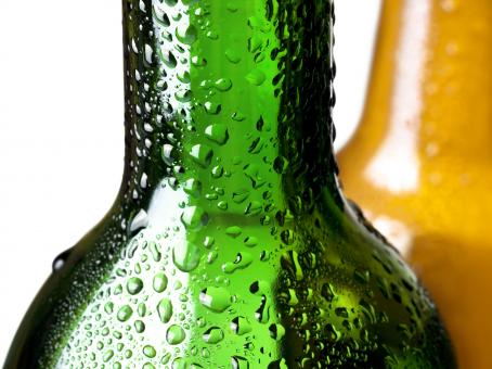 Free Stock Photo of Glass bottles with water drops