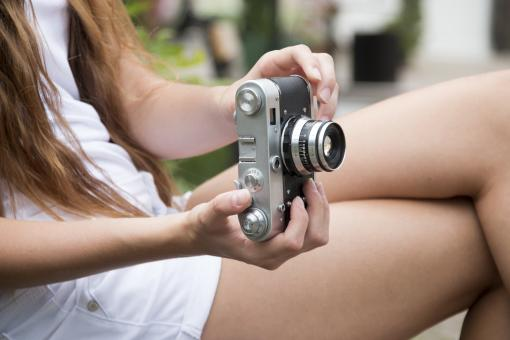 Free Stock Photo of Girl with retro camera