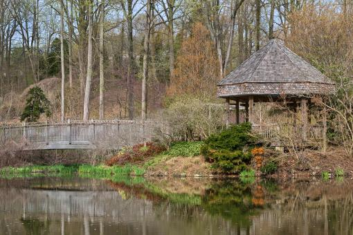 Free Stock Photo of Brookside Bridge & Gazebo - HDR