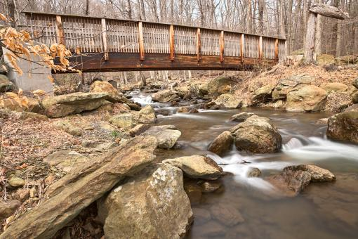 Free Stock Photo of Cunningham Forest Bridge & Stream - HDR