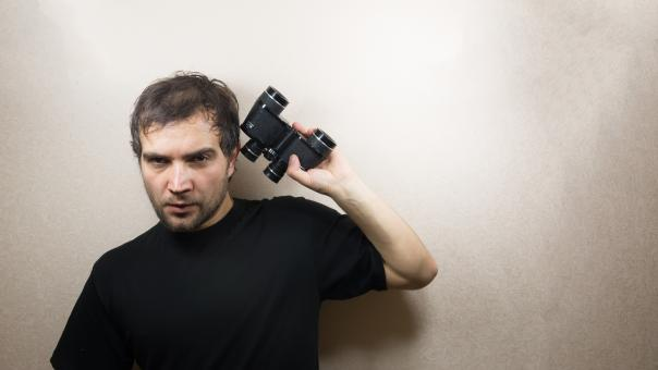 Free Stock Photo of young man with binoculars