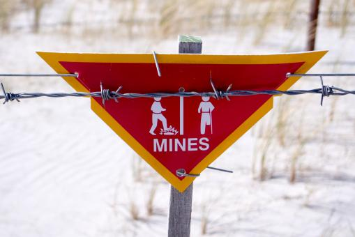 Free Stock Photo of Danger - Land Mine sign in the Falklands