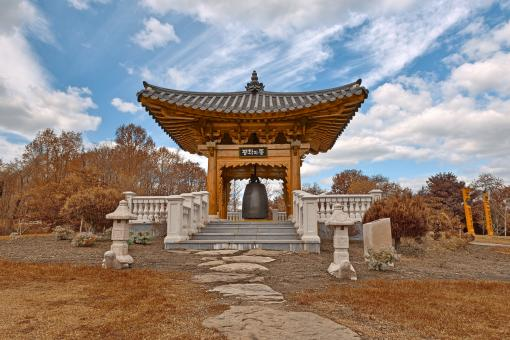 Free Stock Photo of Korean Bell Garden - Sepia HDR