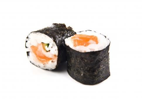 Free Stock Photo of Salmon sushi maki