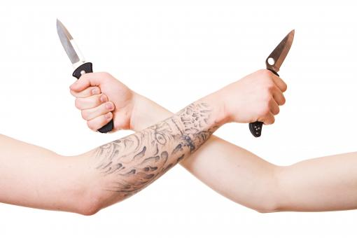 Free Stock Photo of Arms with knives
