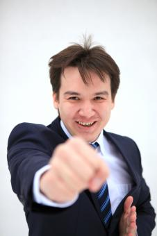 Free Stock Photo of Young business man fighting with you