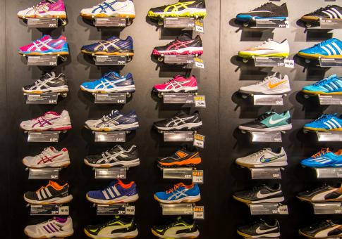 Free Stock Photo of Wall of shoes in a shop