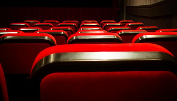 Free Stock Photo of Empty movie theater with red seats cinem