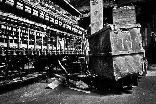 Free Stock Photo of Abandoned Silk Mill - Black & White HDR