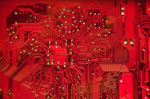Free Stock Photo of Close up of the RED circuit board